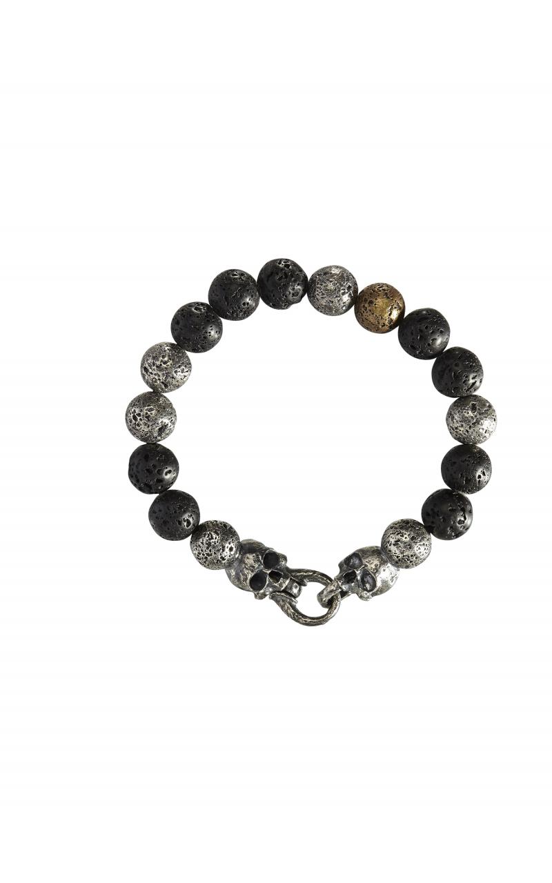 Silver, Brass & Black Lava Bracelet STB-27713 product image