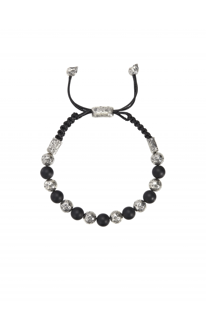 Silver & Onyx Alternating Bracelet STB-27723 product image