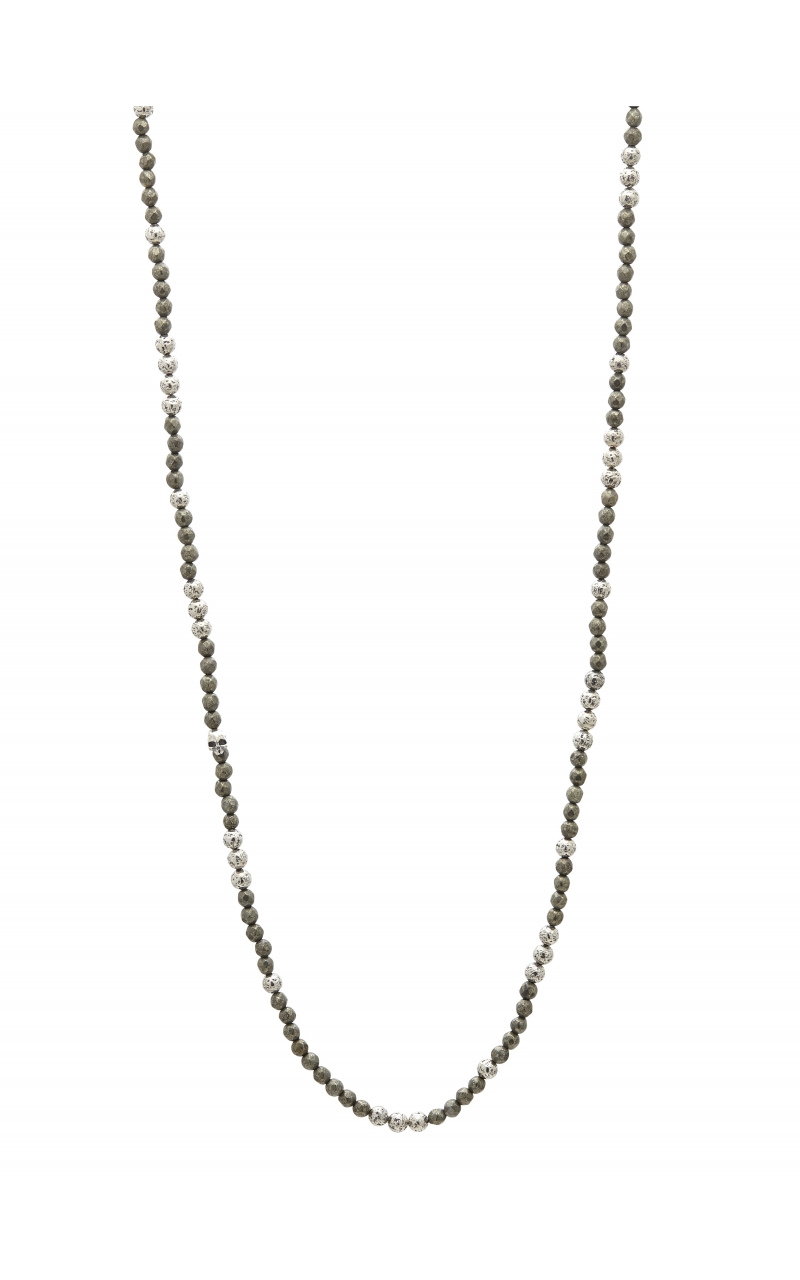 Silver & Pyrite Beaded Necklace STC-27725 product image