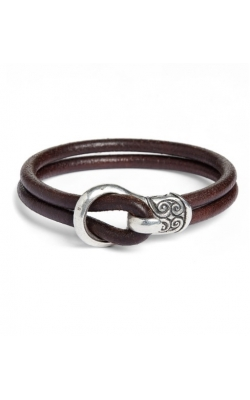 Double Strand Brown Leather Bracelet product image