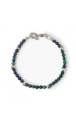 Azurite Bead Silver Skull Clasp Bracelet product image
