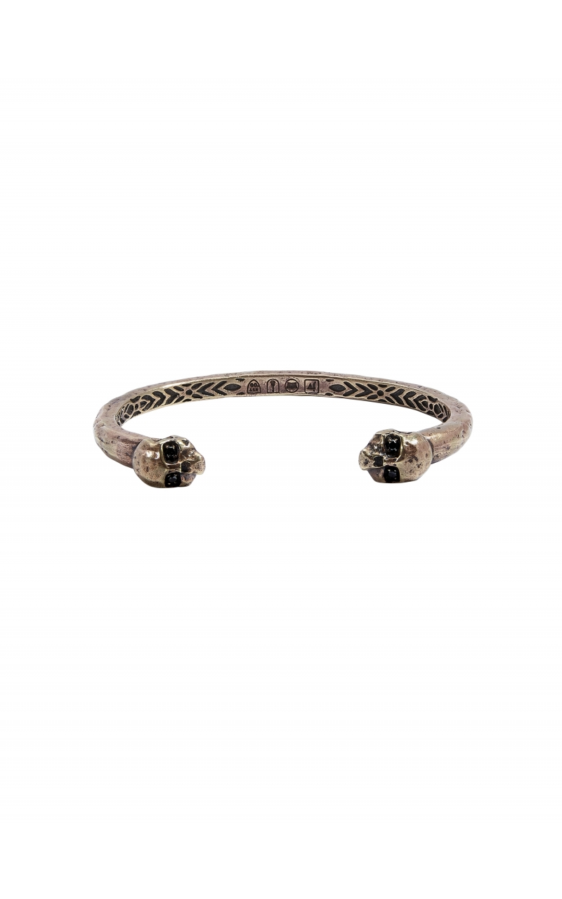 Brass Skull Cuff With Black Diamond Eyes product image