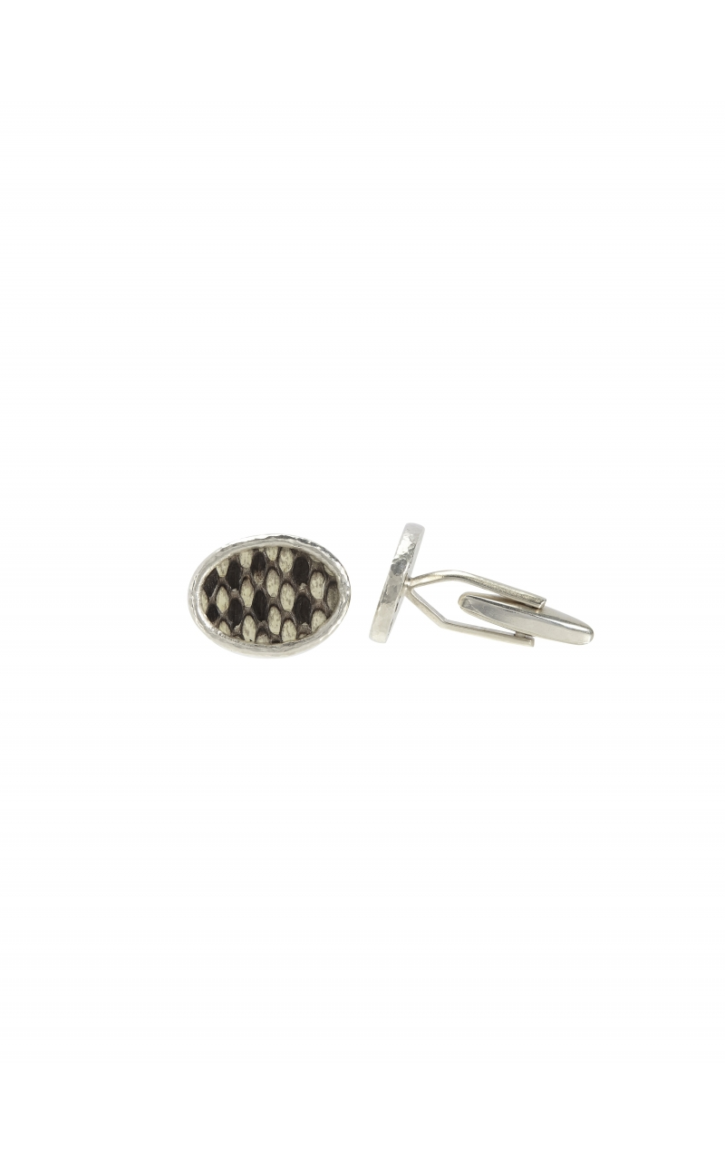Snake Leather Cuff Links In Silver product image
