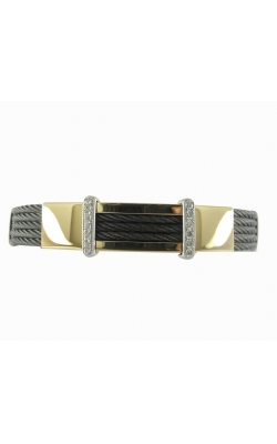 MENS BLACK STEEL CABLE BRACELET AB1-27182 product image