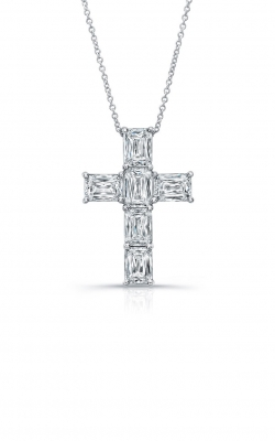 Emerald Cut Diamond Cross Pendant  product image